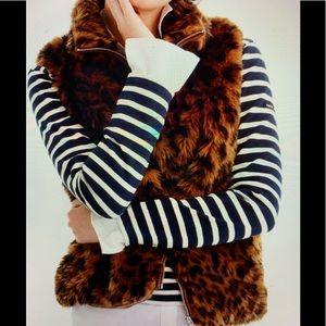J.Crew Leopard Faux Fur Vest